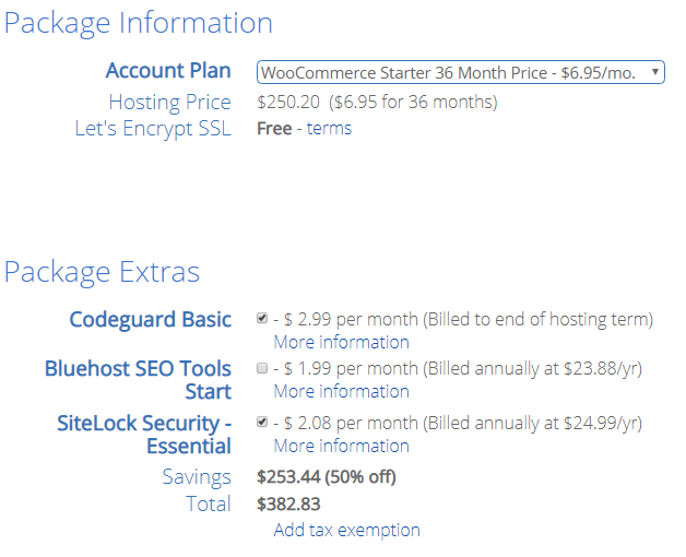 Bluehost offers a cheap price for starting an online store.