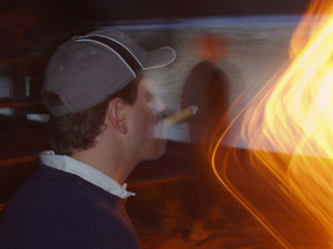 "Photo - ""Interesting Imagery"" - firelight distorting the photo with glowing streams of light"