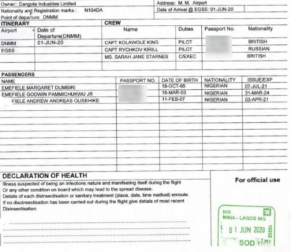 The document obtained by Sahara Reporters