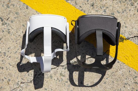 The Quest 2 headset (left) versus the original Quest. (The Verge)