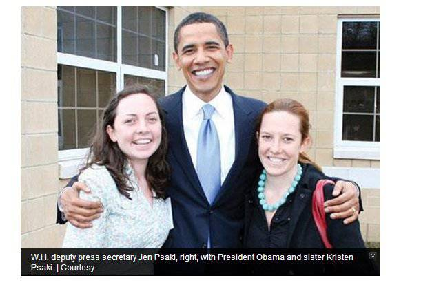 Jen Psaki and sister pictured with Obama