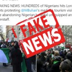 FACT CHECK: Pictures of Nigerians protesting Buhari's medical tourism in London are FAKE