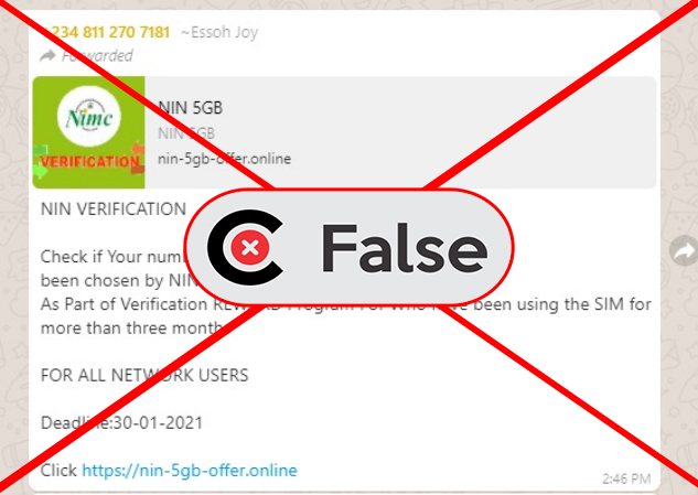 A screenshot of the claim as seen on WhatsApp