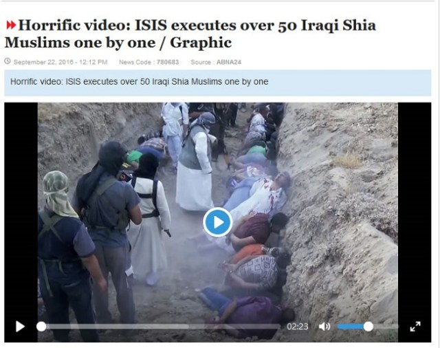 Photograph from the first frame showing the Shiite Muslims being killed in Iraq in 2016