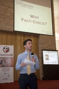 Alexios MANTZARLIS (Poynter Institute). FactCheckNI launch event. Skainos Centre, Belfast, Northern Ireland. (c) Kevin Cooper Photoline