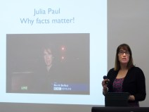 Julia PAUL introduction FactCheckNI training session. The Graduate School, Queens University Belfast, Belfast, Northern Ireland.