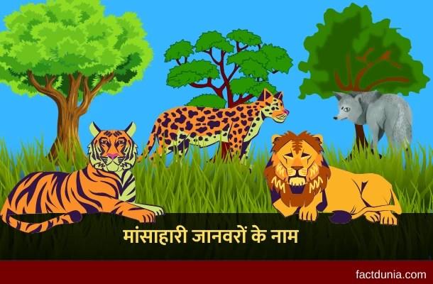 10 मांसाहारी जानवरों के नाम हिंदी इंग्लिश में – Carnivorous Animals Name in Hindi