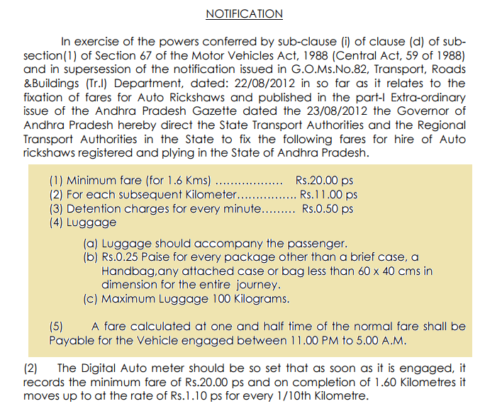 Taxi Fare rules in India - Notification