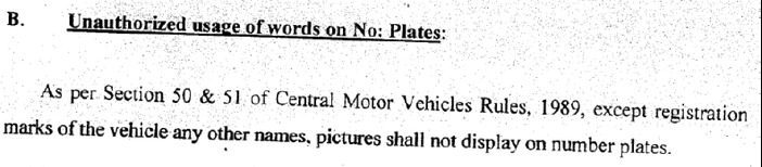 fancy_number_plates_in_india_section 50 and 51 prohibit words
