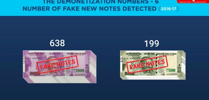 The Demonetization Numbers - Number of Fake New Notes Detected