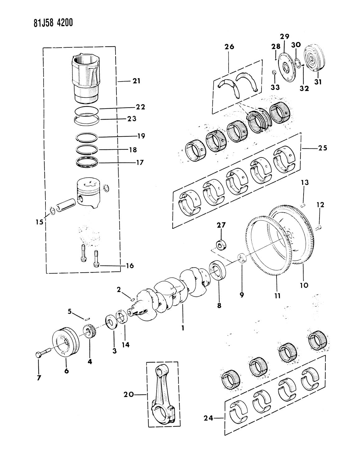 CRANKSHAFT, FLYWHEEL, AND PISTON 1985-86 RENAULT DIESEL XJ
