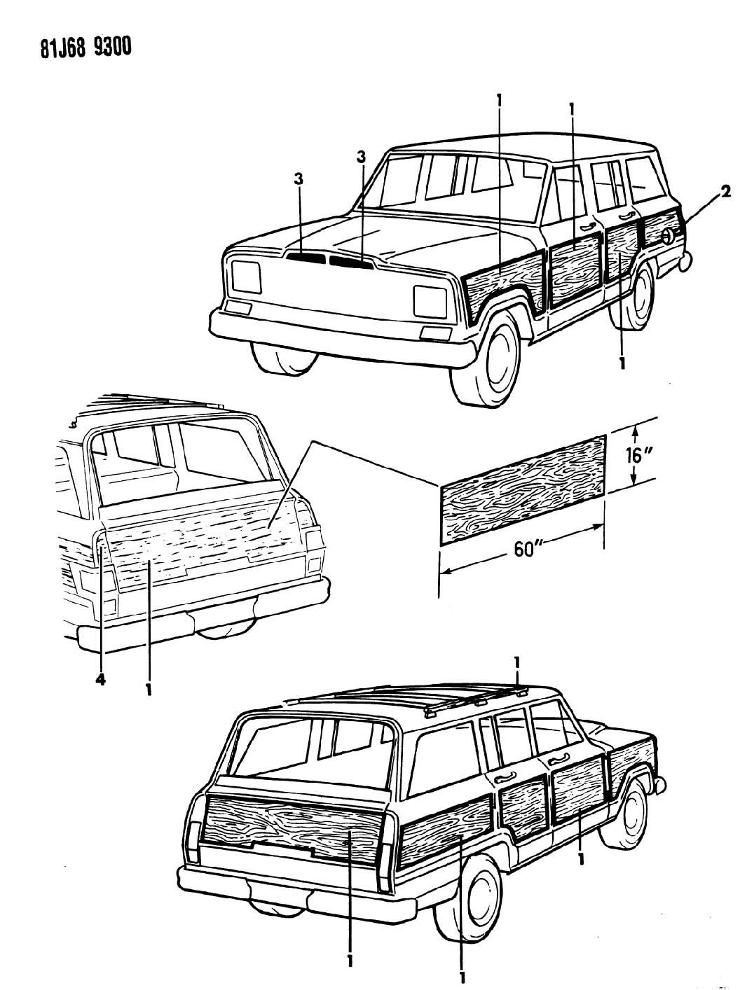 1985 Jeep Grand Wagoneer DECALS, EXTERIOR WOODGRAIN SJ