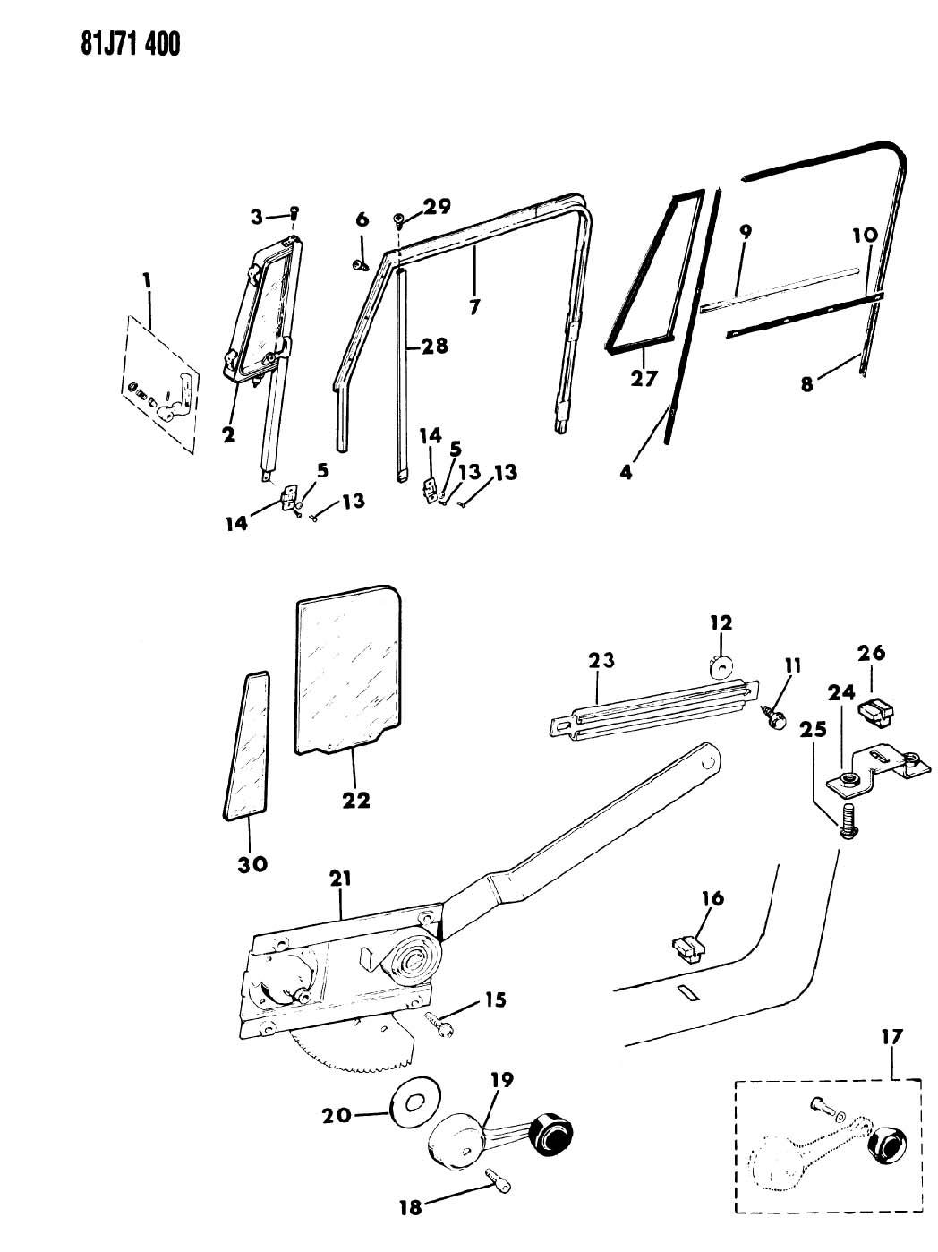 Jeep Wrangler DOORS, FULL, FRONT GLASS AND REGULATOR CJ-7,8