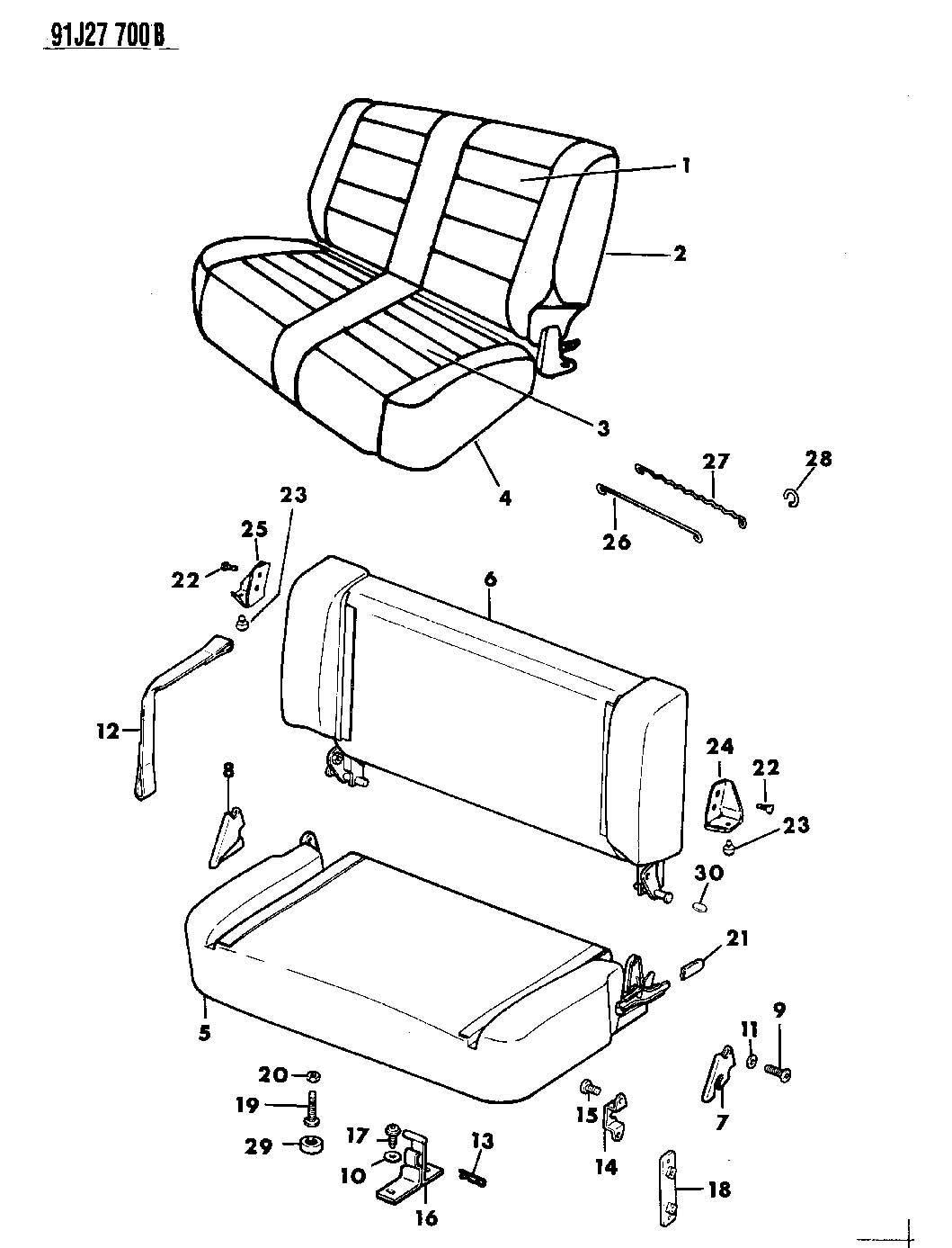 Seat Assemblies And Seat Covers Rear Seat Wrangler Yj