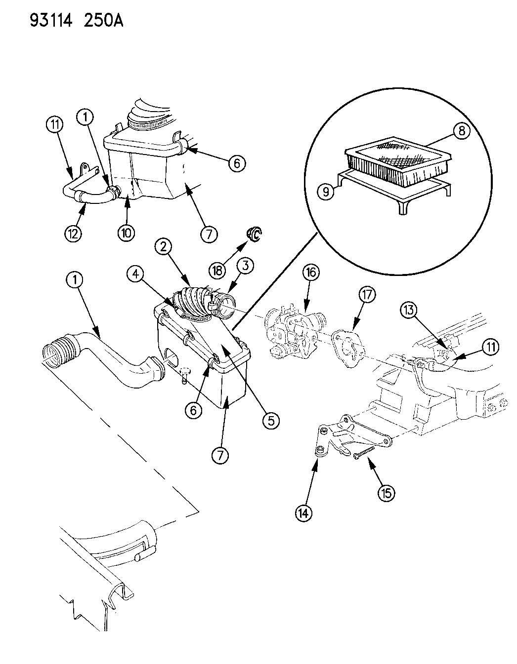 Chrysler Lebaron AIR CLEANER 2.5L ENGINE (FLEX FUEL) A BODY