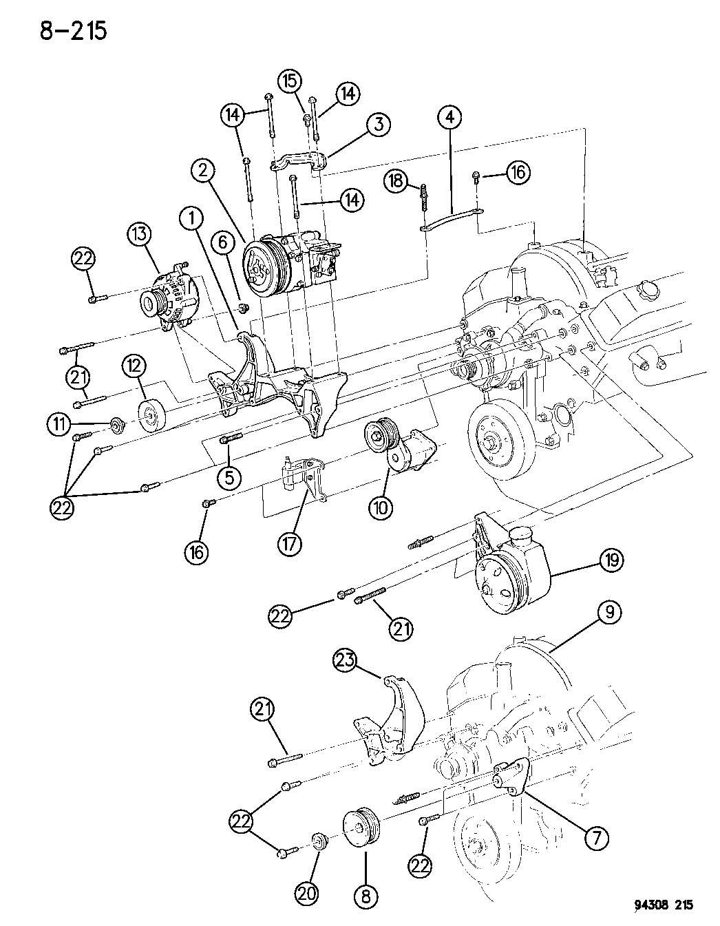 1994 Dodge Dakota ALTERNATOR MOUNTING 6-8 CYLINDER ENGINE