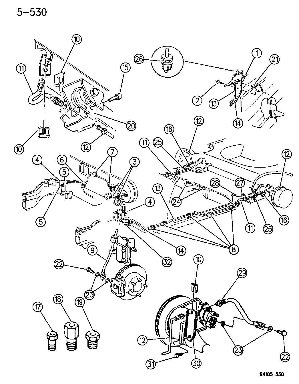 1995 Chrysler Lebaron LINES AND HOSES, BRAKE W/O ANTI-LOCK