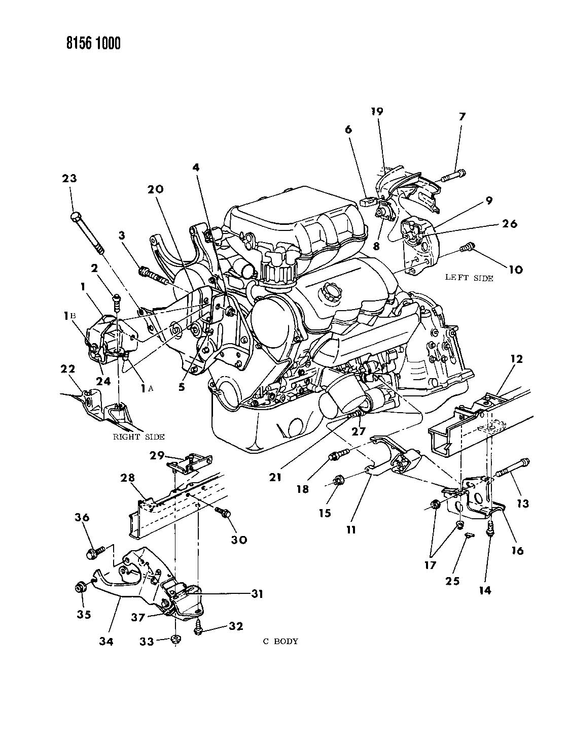 Plymouth Grand Voyager ENGINE MOUNTING 3.0 L ENGINE