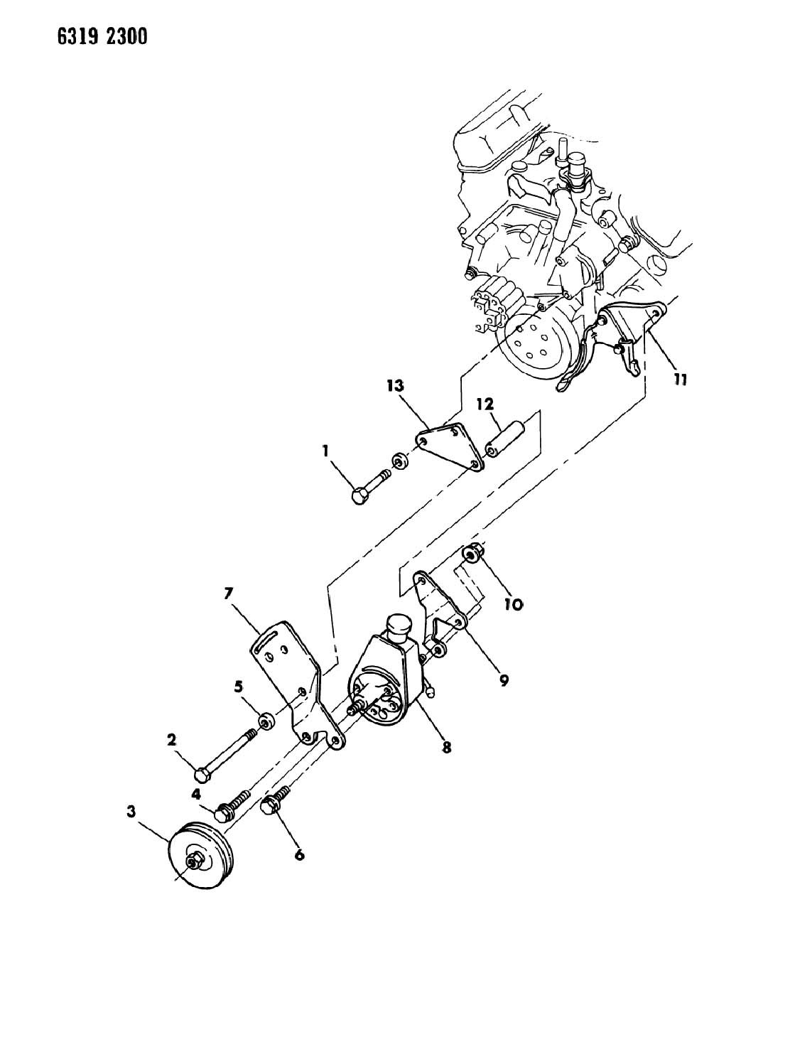 PUMP MOUNTING, POWER STEERING 318,360 ENG. WITHOUT REMOTE
