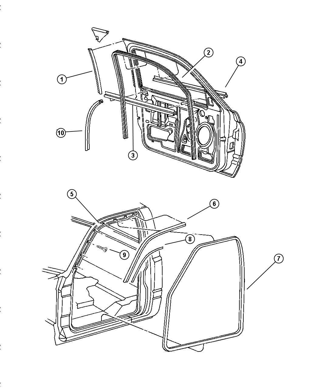 1998 Dodge Ram 2500 Door, Front Weatherstrips And Seals