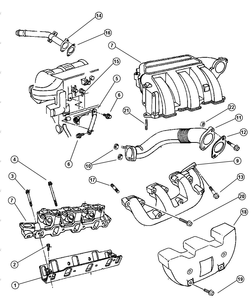 Manifolds, Intake and Exhaust 3.3L EGA-EGM Engine