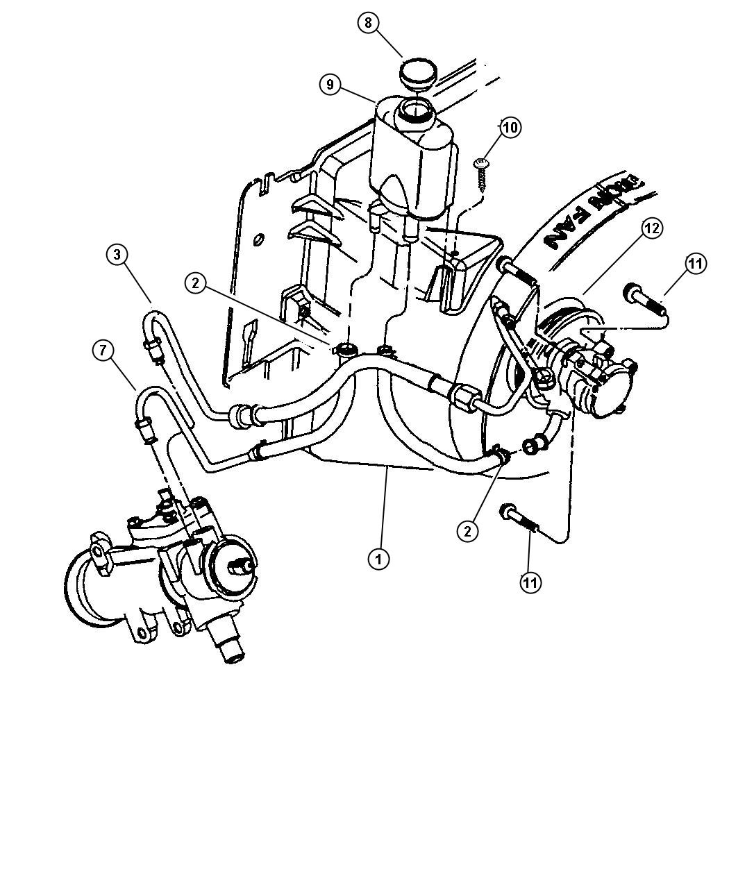 Jeep Wrangler Hoses And Reservoir 2 5l Engine
