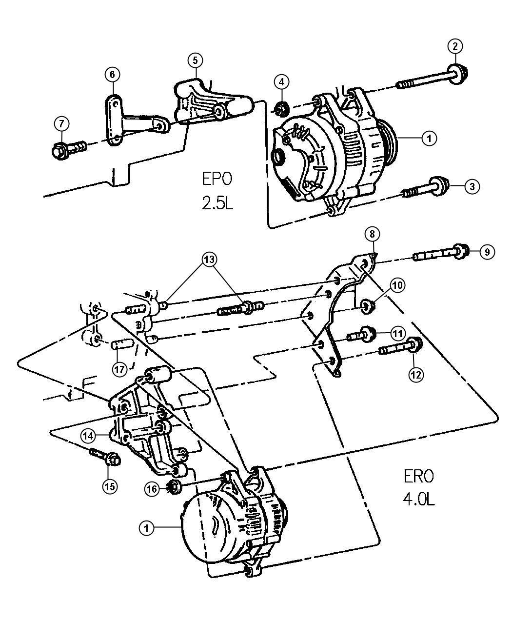 jeep cherokee alternator 2 5l amp 4 0l engines l h d