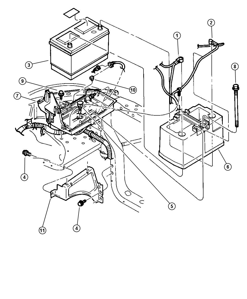 98 dodge dakota wiring diagram one room electrical 2000 durango battery tray and cables