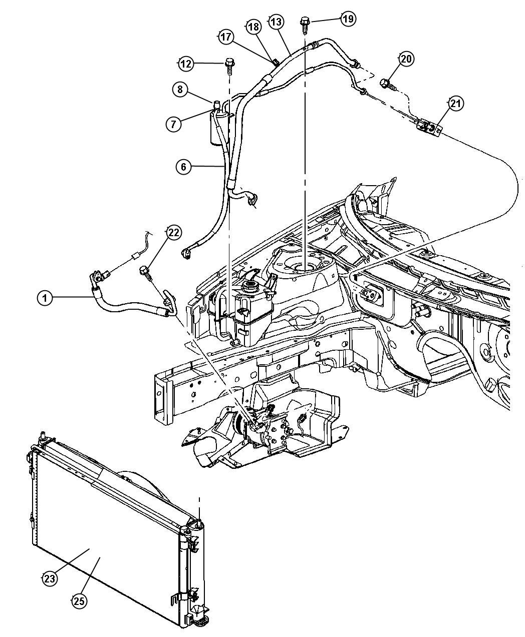 2001 Chrysler Sebring I CONVERTIBLE LX Plumbing, Air