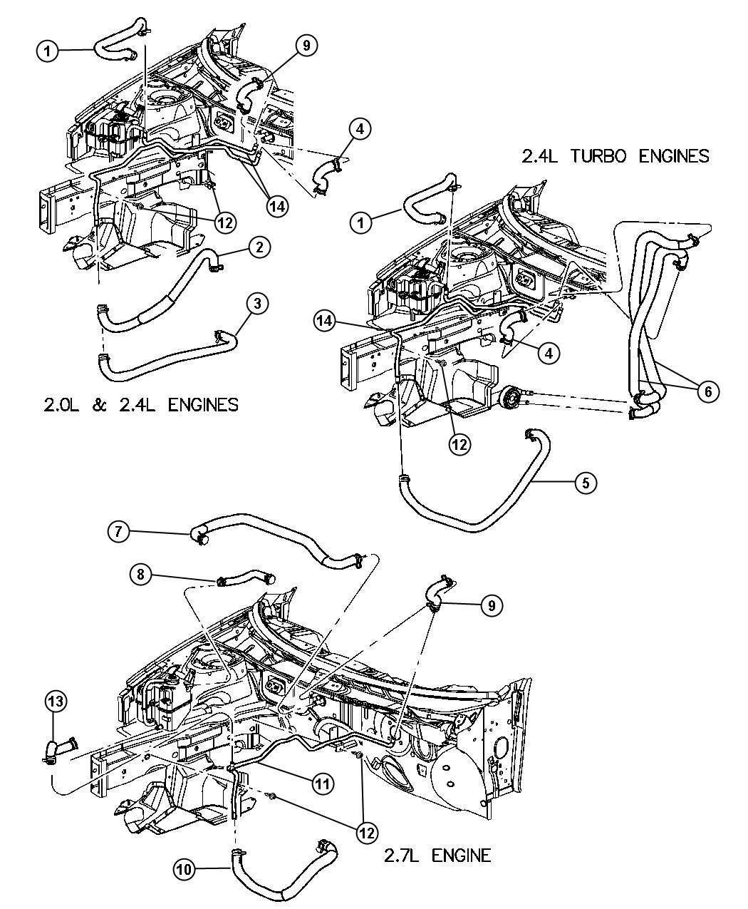 2001 Chrysler Sebring Plumbing, Heater