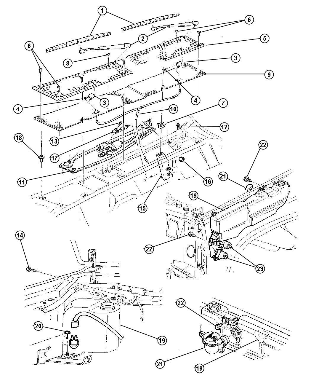 1998 Jeep Cherokee Windshield Wiper & Washer L.H.D.