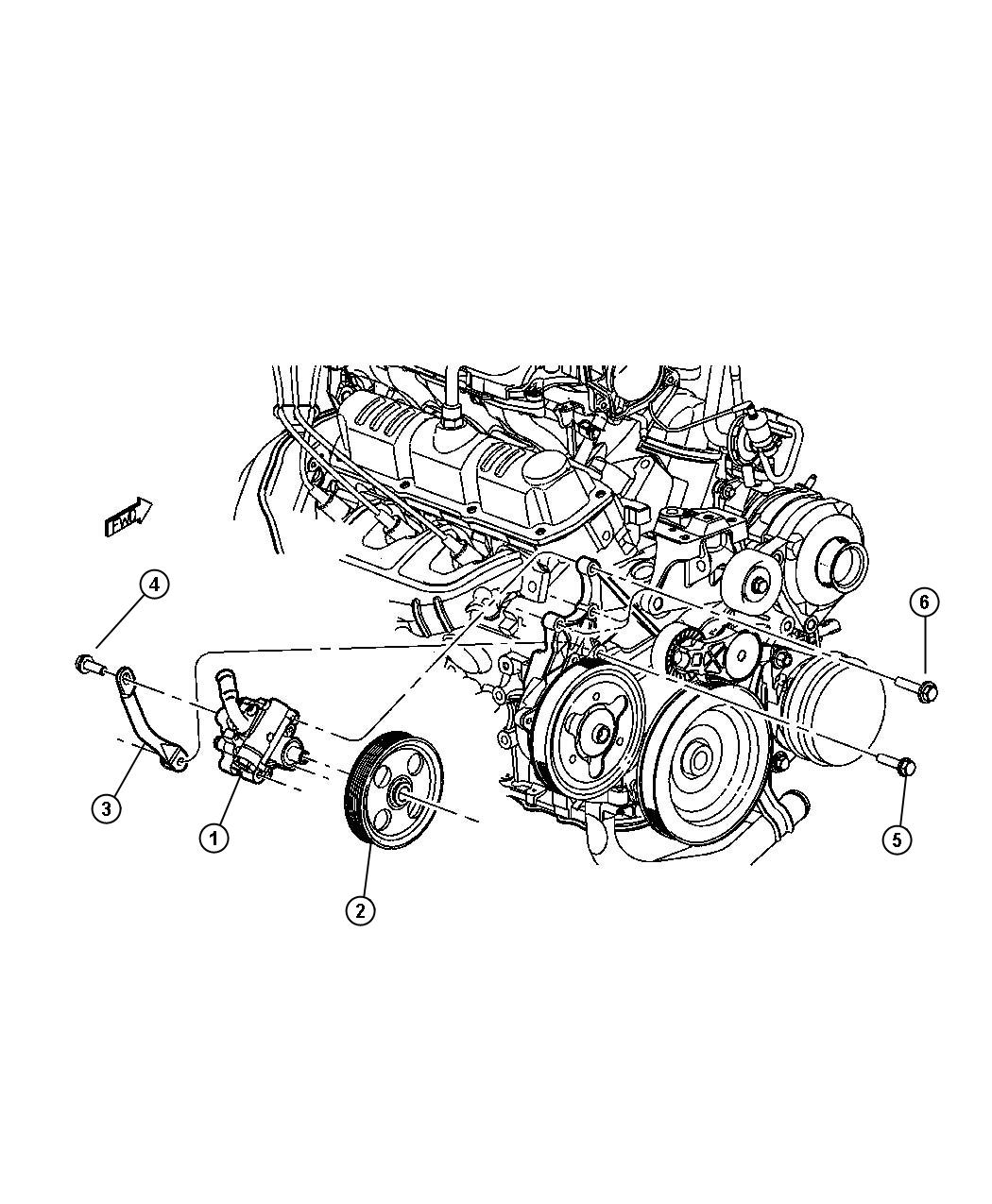 Chrysler Voyager Power Steering Pump 3 3l 3 8l Engine