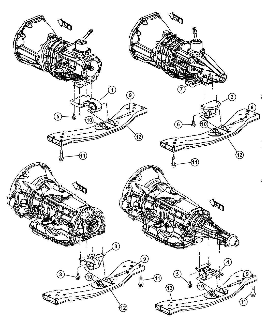 2002 Jeep Liberty Mounting Engine, Rear, 3.7L [EKG]