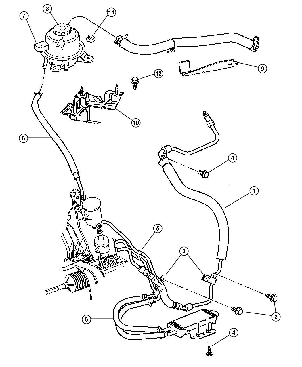 2001 Chrysler Town & Country Hoses, Power Steering, 3.5L
