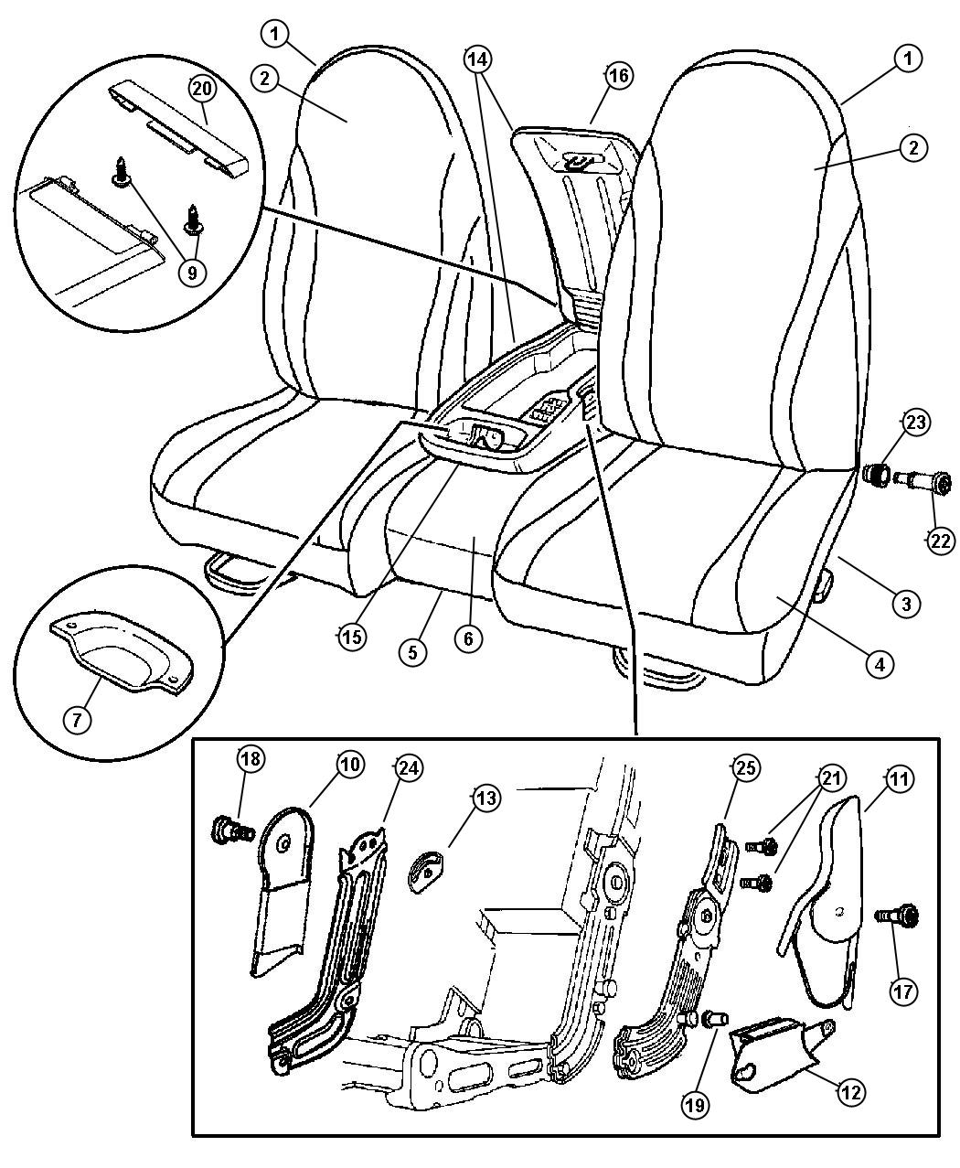 Seat Front, Split Bench, Trim Code [P9]