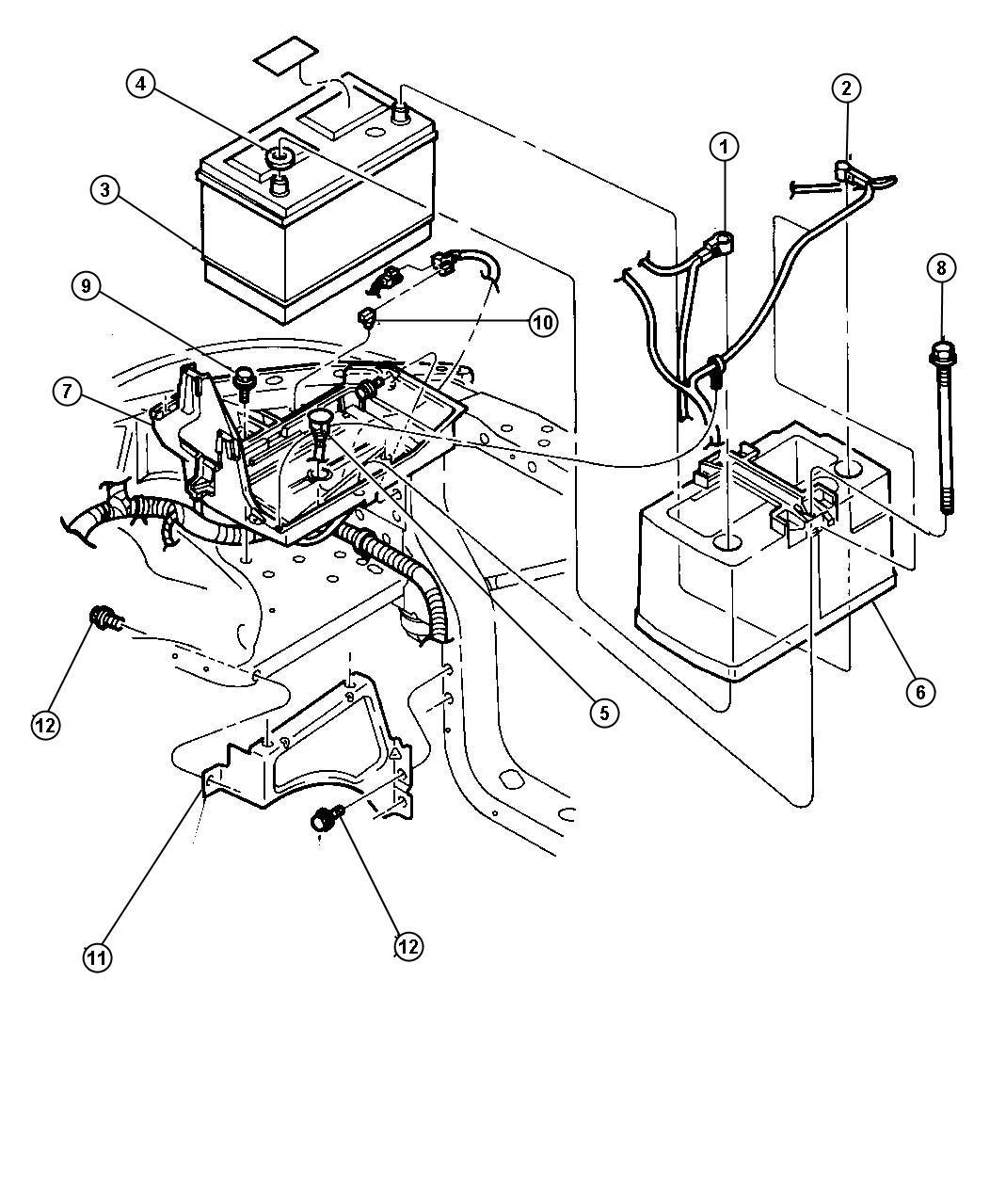 Dodge Dakota Magnum 5 2l Smpi V8 4 Spd Automatic 4re Battery Tray Amp Cables