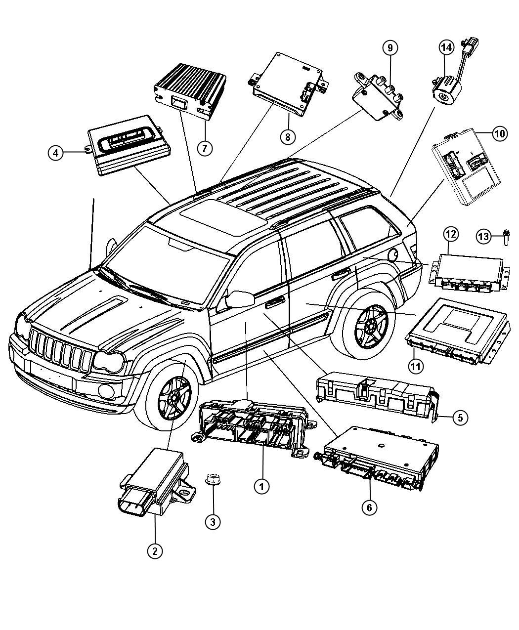 2011 Jeep Grand Cherokee Modules Body