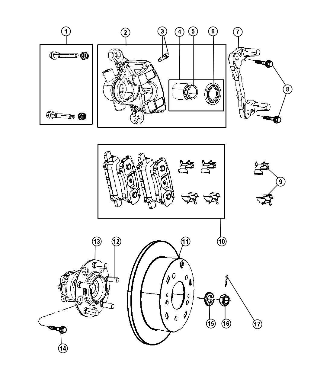 2011 Jeep Compass Brakes, Rear, Disc