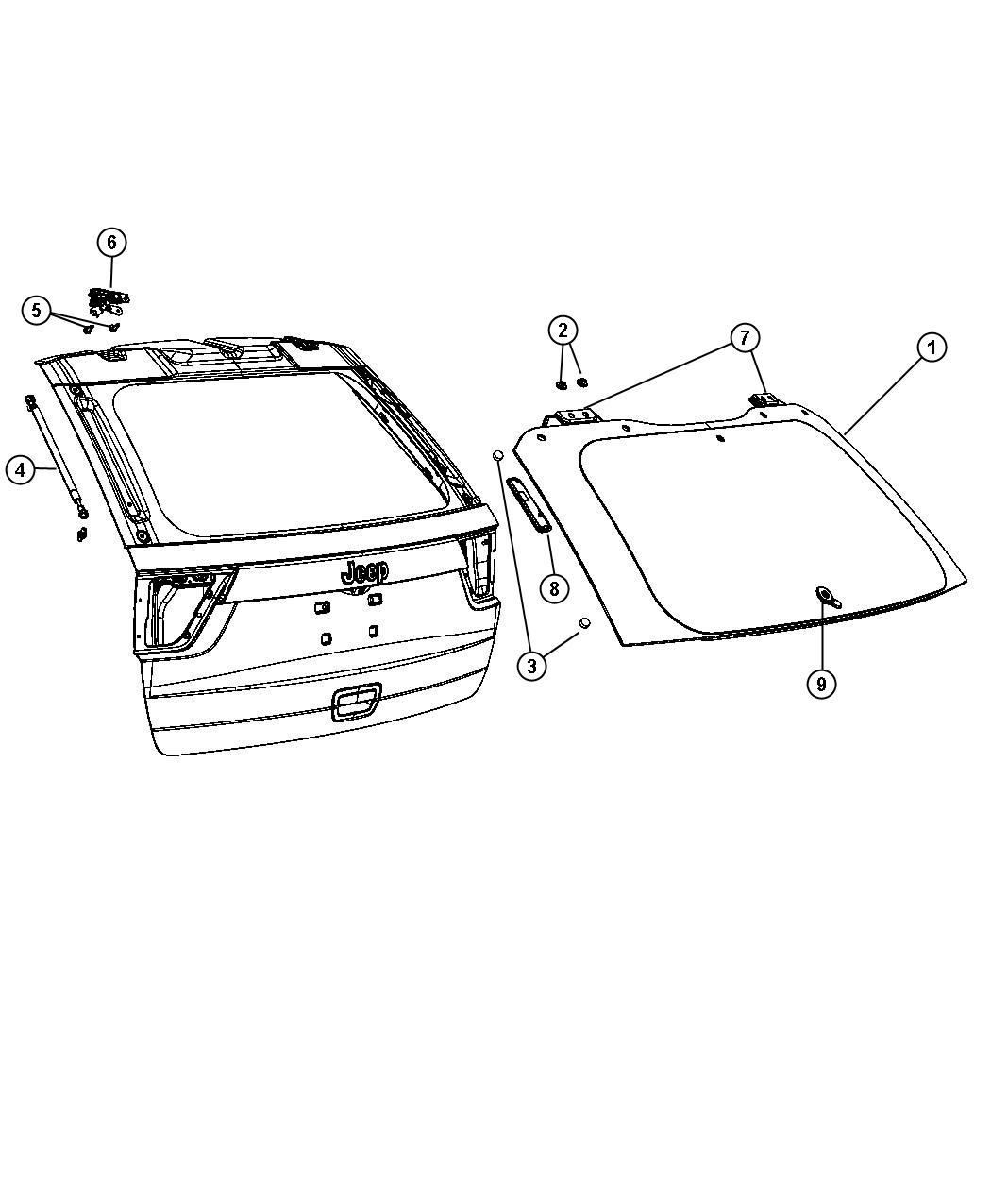 Jeep Glass Liftgate Hardware And Attaching Parts