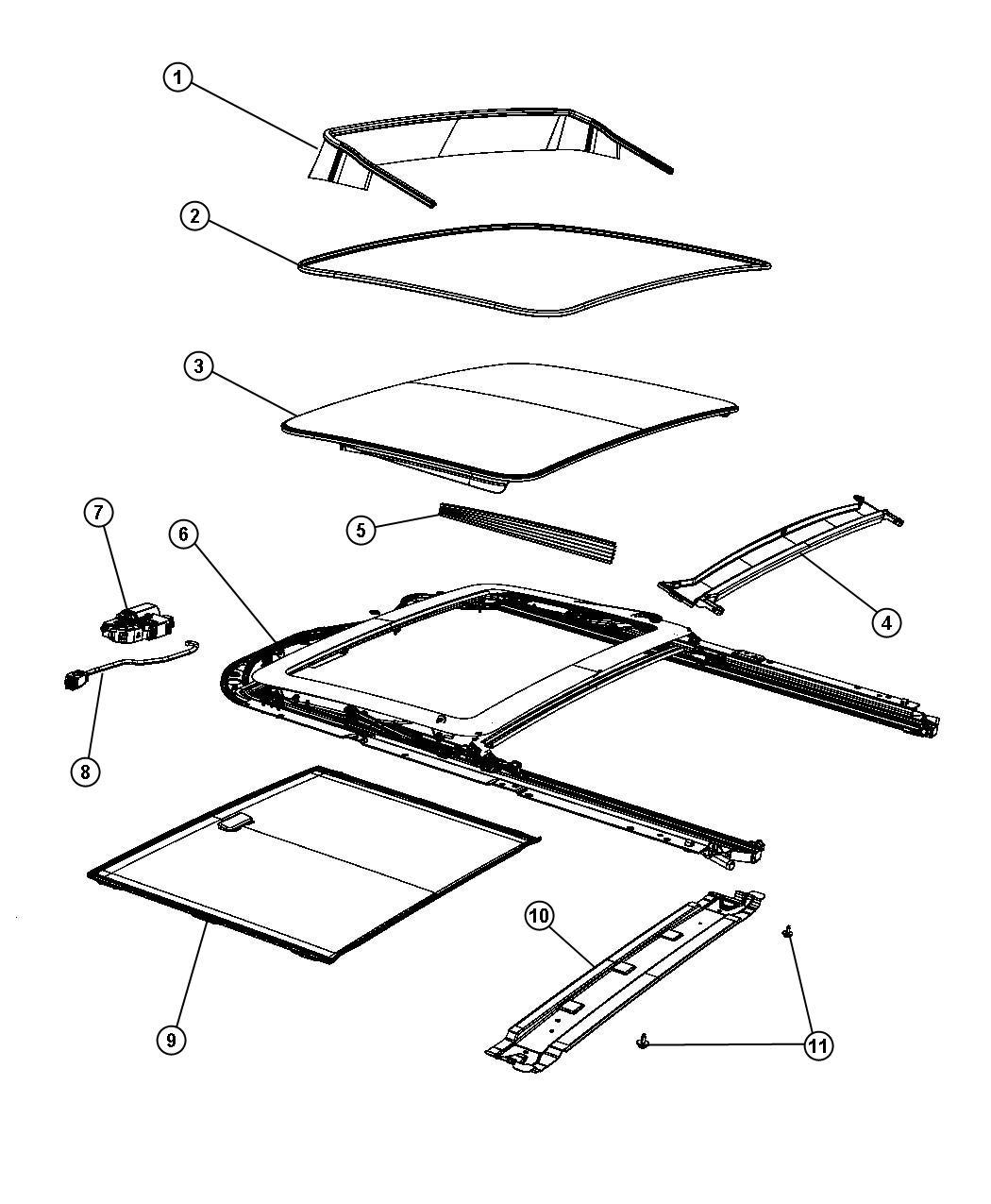 Jeep Grand Cherokee Sunroof Glass and Comonent Parts [GWA]