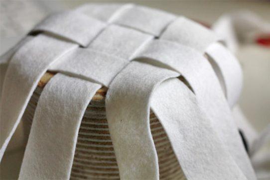 Woven Basket with Felt2 - Cestinha de feltro