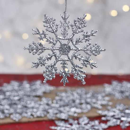 Silver Glitter Snowflake Ornaments  Winter Weddings Theme