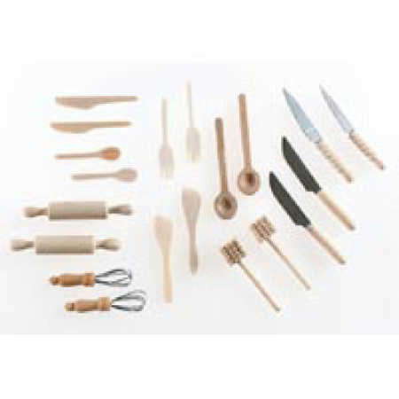 kitchen pots and pans set eurostyle cabinets dollhouse miniature wooden utensil - ...
