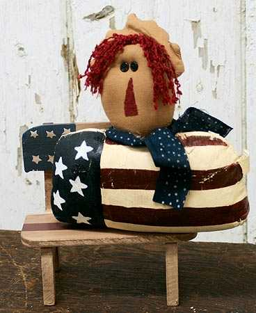 Primitive Americana Wooden Bench Doll Accessories Doll