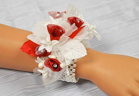 White Pearl Stretchable Wrist Corsage Bracelet  Corsage