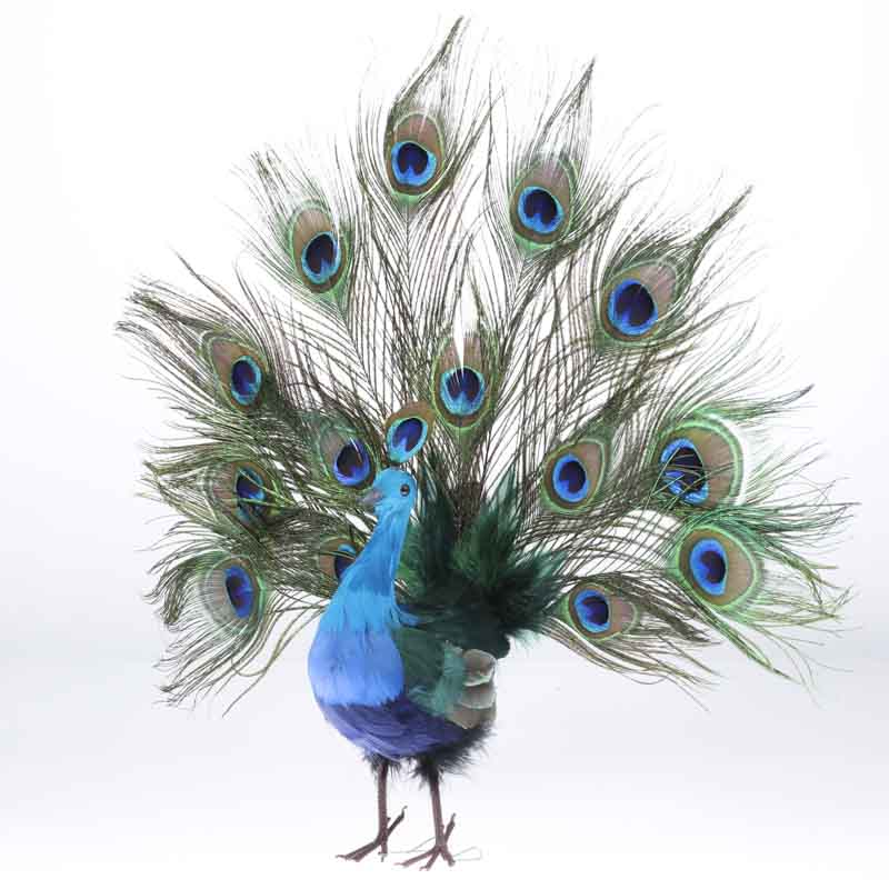 Open Tail Feathered Artificial Peacock Birds