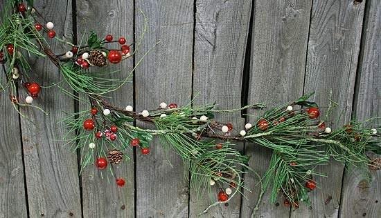 Icy Winter Pine Red and White Berry Garland with Pine