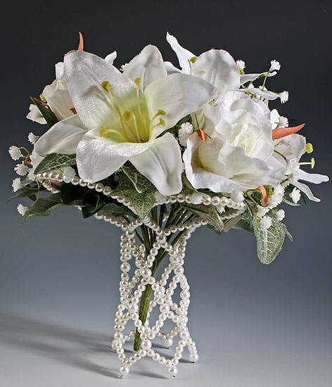 Pearl Bouquet Holder Handle Sleeve