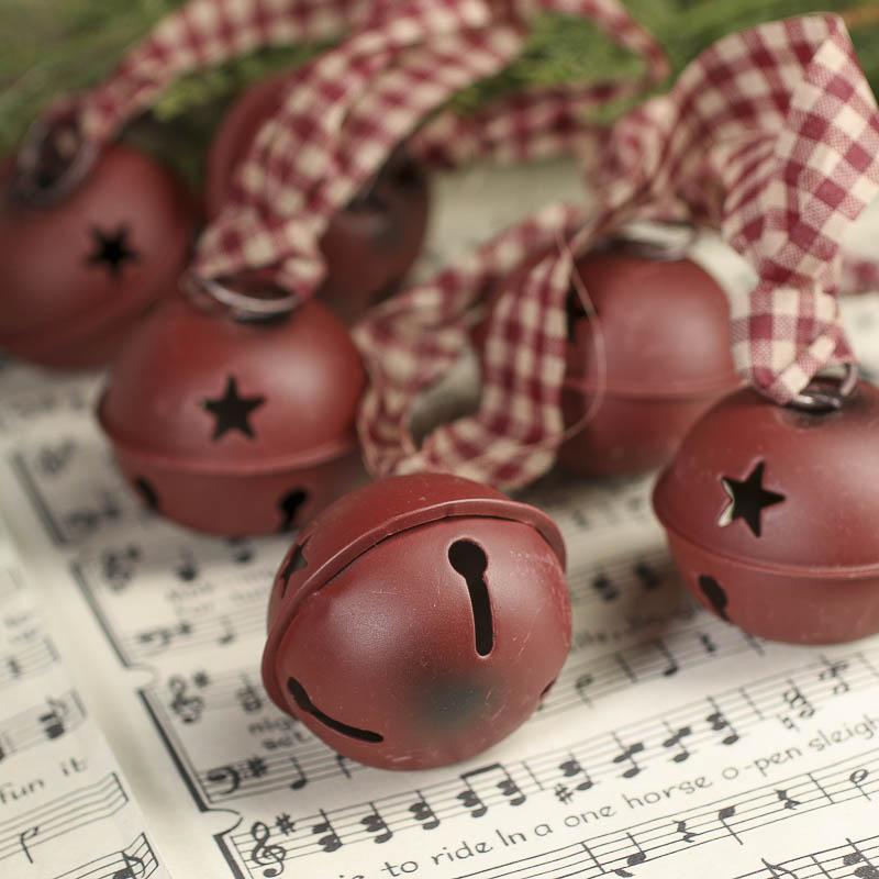 Large Rustic Burgundy Sleigh Bells Garland Christmas