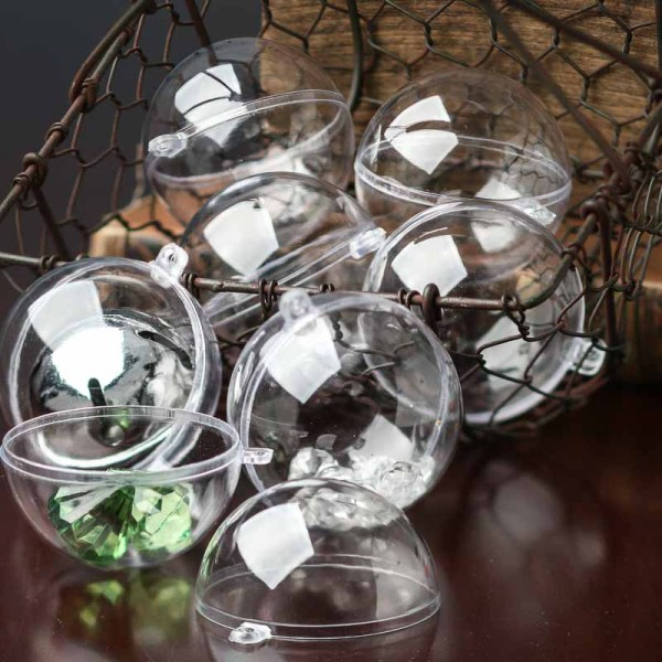 Package Of 12 - 60mm Clear Acrylic Fillable Ball Ornaments